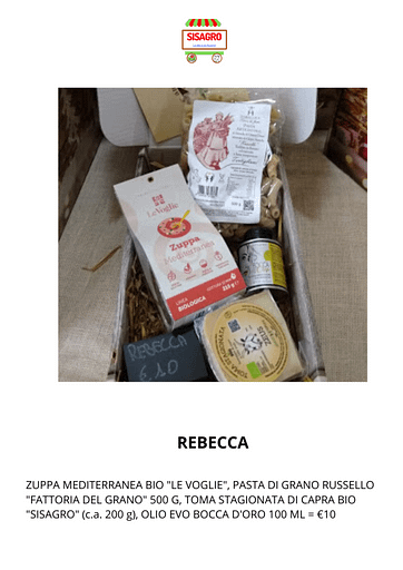 """Rebecca: ZUPPA MEDITERRANEA BIO """"LE VOGLIE"""", PASTA DI GRANO RUSSELLO """"FATTORIA DEL GRANO"""" 500 G, TOMA STAGIONATA DI CAPRA BIO """"SISAGRO"""" (c.a. 200 g), OLIO EVO BOCCA D'ORO 100 ML = €10"""
